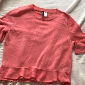H&M pink sparkly knit top